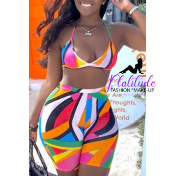Pluum006628 Print Multicolor Two-piece Swimsuit