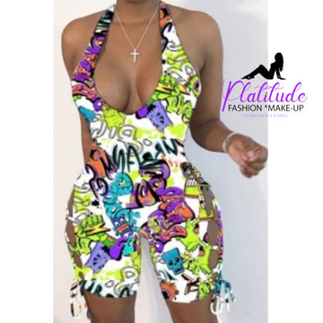 Pluum006634 Leisure Cartoon Print Multicolor One-piece Romper