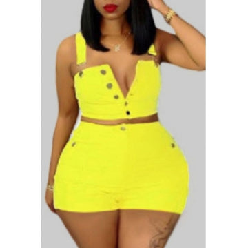 Pluum006696 Buttons Design Yellow Plus Size Two-piece Shorts Set
