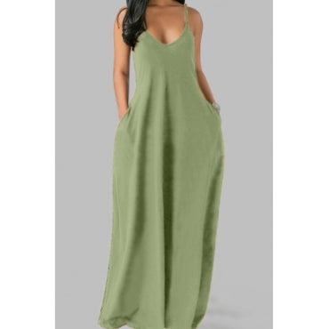 Pluum006680 Pocket Patched Maxi Plus Size Dress