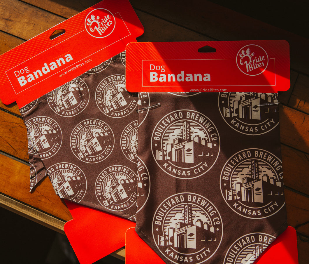 2 Brown dog bandanas with Boulevard Brewing Co seal logo.