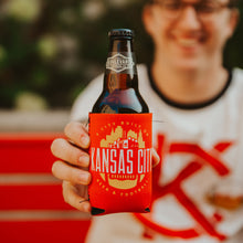 Load image into Gallery viewer, Man holding Kansas City Football Koolie and beer