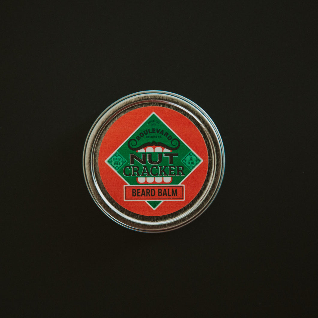 Nutcracker beard balm on black table