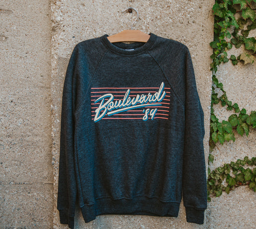 Charlie Hustle retro Boulevard '89 crewneck on hanger.