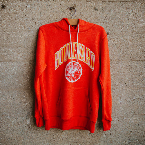 Boulevard Brewing Co. seal hoodie on hanger
