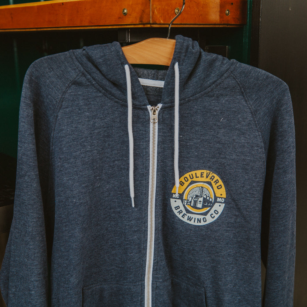Navy zip up hoodie with Boulevard Brewery image on top left side