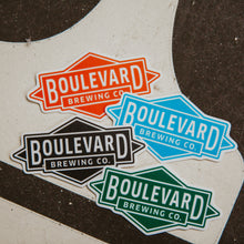 Load image into Gallery viewer, Four Boulevard Diamond logo sticker in black, teal, blue and orange.