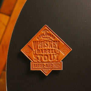 Whiskey Barrel Stout Leather Coaster top