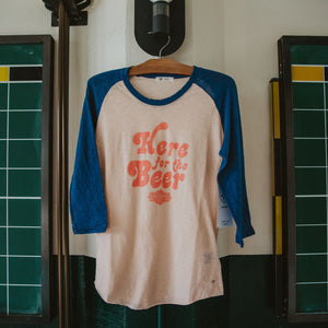 Women's Here for the Beer Tidal Slub Raglan Hanging