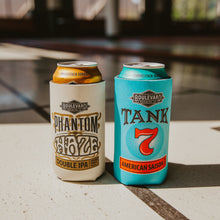Load image into Gallery viewer, Phantom Haze and Tank 7 Tall boy koolies on respective 16 oz beer cans.
