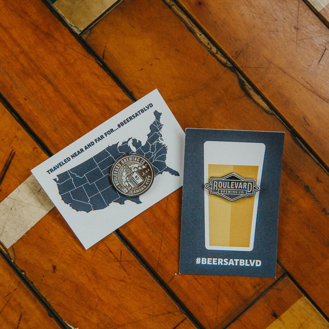 Brewery Logo Enamel Pin both