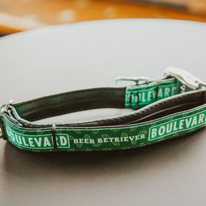 "Boulevard ""Beer Retriever"" dog collar on table"