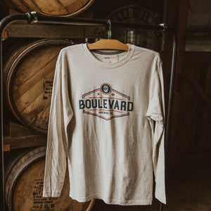 Long sleeve oatmeal shirt with image of a small barrel and Boulevard Brewing Co. on chest