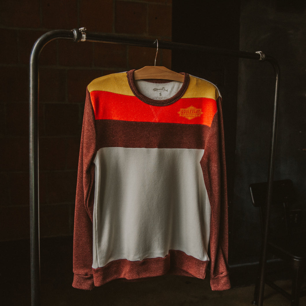 Striped Logo Fleece Crewneck Front