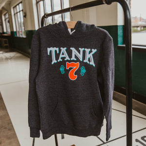 Charcoal hoodie with Tank 7 logo on front