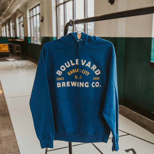Navy hoodie with sewn on Boulevard Brewing Co.