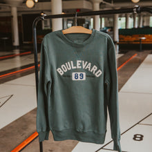 "Load image into Gallery viewer, Dusty green crewneck sweatshirt with sewn on ""Boulevard 89"""