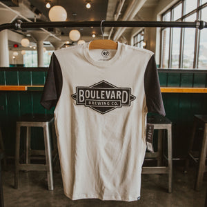 White t-shirt with black sleeves and sewn on Boulevard Brewing Co. diamond logo