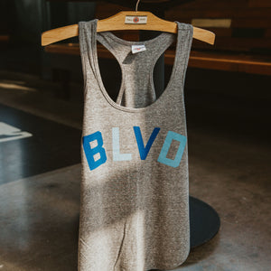 "Gray racerback tank with ""BLVD"" on front."