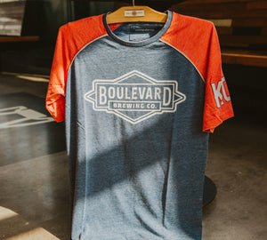 Blue and red t-shirt with Boulevard Brewing Co. logo