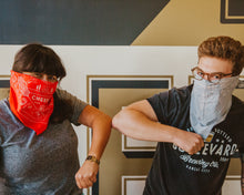 Load image into Gallery viewer, 2 people wearing Boulevard Bandana in red and grey