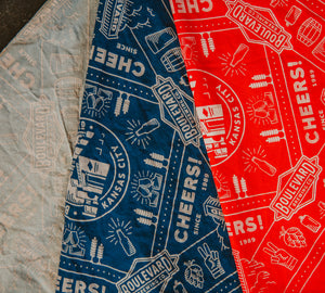 Boulevard Bandana in grey, blue, and red