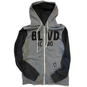 BLVD KCMO Two Toned Zip Up Front laying