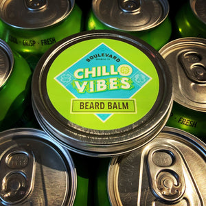 Chill Vibes Beard Balm on Chill Vibes beer cans