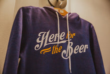 Load image into Gallery viewer, Charlie Hustle Here For The Beer Hoodie Hanging Front Zoomed