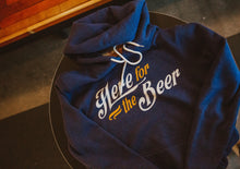 Load image into Gallery viewer, Charlie Hustle Here For The Beer Hoodie Laying Front Zoomed