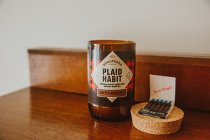 Plaid Habit Candle with Matches