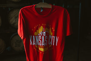 Kansas City Football Tee Hanging front zoomed