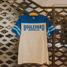 "Load image into Gallery viewer, Blue sleeve and white body t-shirt with ""Boulevard Brewing Co."" on chest"