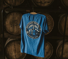 Load image into Gallery viewer, Classic Brewery Tee Blue Hanging back