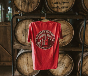 Classic Brewery Tee Red Hanging Back