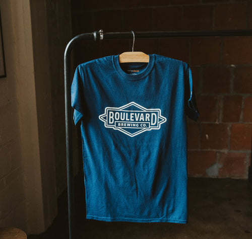 Navy T-shirt with Boulevard Brewing Co. logo