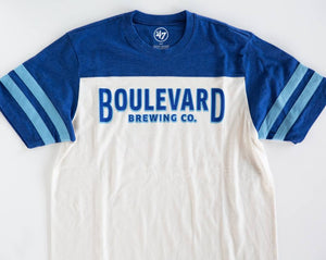 Boulevard Brewing Endgame Club Tee Laying Zoomed