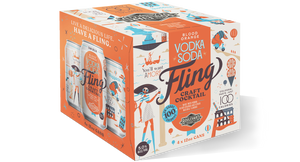 Fling Blood Orange Vodka Soda Four Pack 12 oz cans BOX
