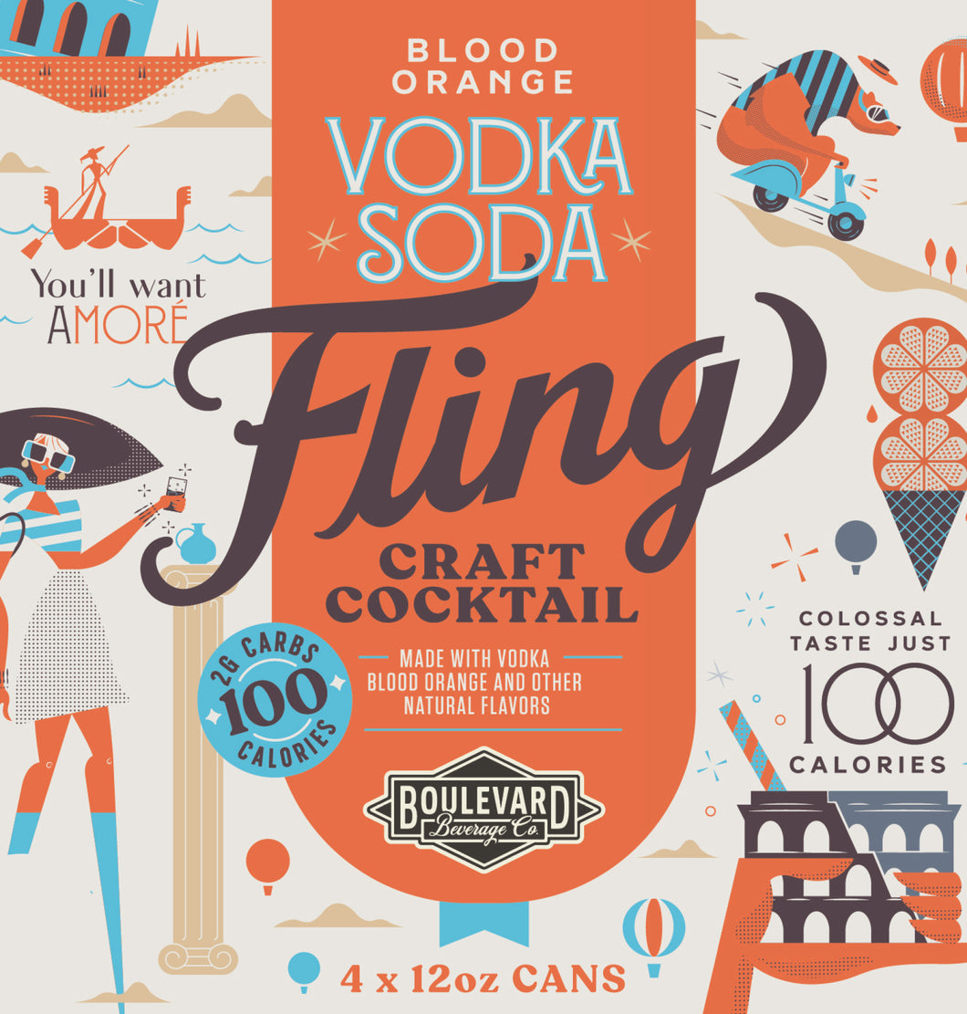 Fling Blood Orange Vodka Soda Four Pack 12 oz cans LOGO