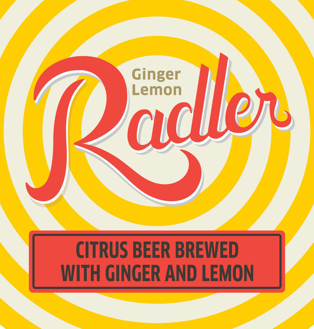 Ginger Lemon Radler Six Pack 12 oz cans LOGO