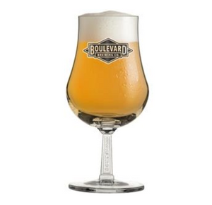 Diamond Logo SS Stem Tulip Glass with beer and white background