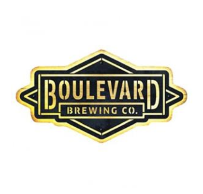 Boulevard Brewing Co. diamond logo in metal attached to wood with LED lights