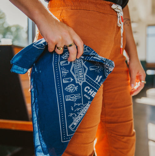 Person holding Boulevard Bandana in Blue