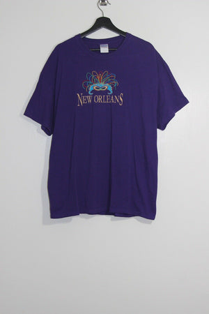 New Orleans XL Mens T-shirt Mardi Gras Embroidered Mask