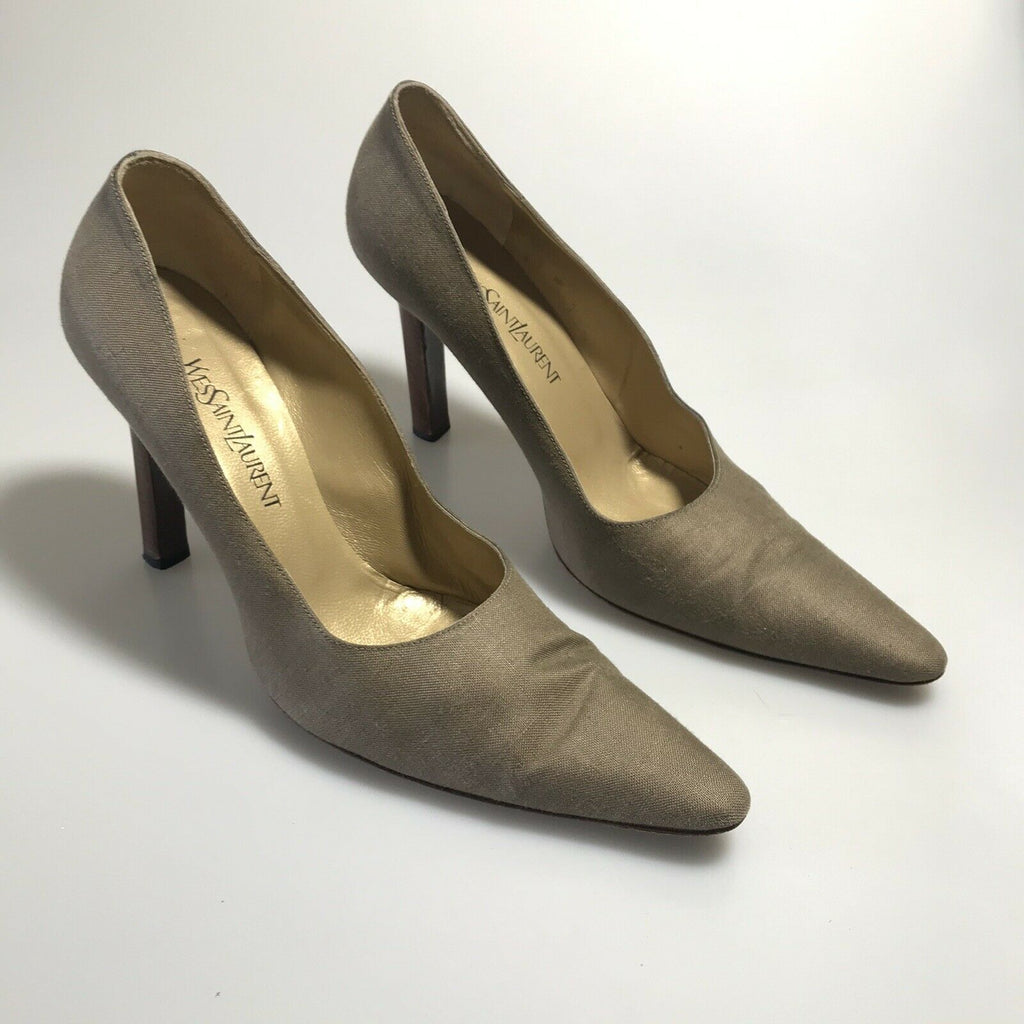 YSL YVES SAINT LAURENT Brown Fabric Round Pointed Toe Pumps Heels, Size 9.5