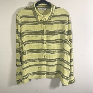 Carlisle Women's 4 Silk Blouse Top Button Up Long Sleeve Green Striped