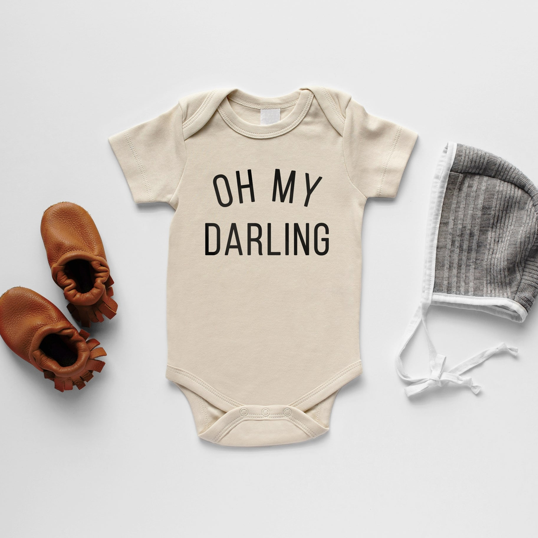 "Cream ""Oh My Darling"" Long Sleeve Onesie"