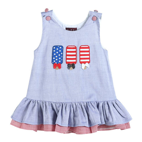 Blue and Red Americana Popsicles Applique Swing Dress