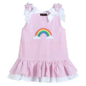 Pink Gingham Rainbow Applique Swing Dress
