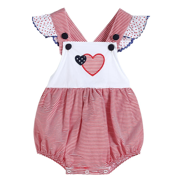 Red & White Gingham Heart Ruffle Accent Bubble Romper
